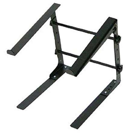 Pyle Portable Adjustable Laptop Stand - 6.3 to 10.9 Inch Standing Table Monitor or Computer Desk Workstation Riser with Shelf Storage and Height Alignment for DJ, PC, Gaming, Home or Office - PLPTS30