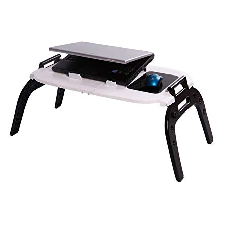 Etable Portable & Folding Laptop Table for Bed, with 2 Cooling Fans, Mouse Pad, Carrying Handle Fits up to 17