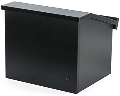 Displays2go 12.6 Inch H Tabletop Portable Podium, Folding, Angled Surface with Lip, Hollow Storage Area, Black (LCTFLDNGOB)