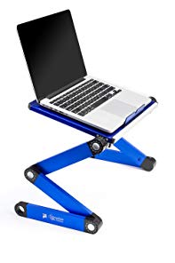 Portable Adjustable Aluminum Laptop Desk/Stand/Table Vented Notebook-Macbook-Ultra Light Weight Ergonomic TV Bed Large Lap Tray Stand Up/Sitting-Blue