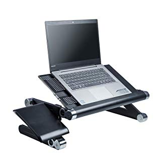Portable Folding Laptop Stand and Standing Desk Converter. Portable and foldable (Black) with free mouse stand