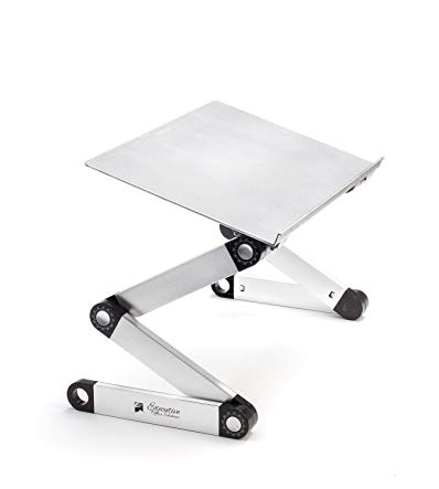 Portable Adjustable Aluminum Laptop Stand/Desk/Table Notebook Macbook Ergonomic TV Bed Lap Tray Stand Up Sitting - Silver