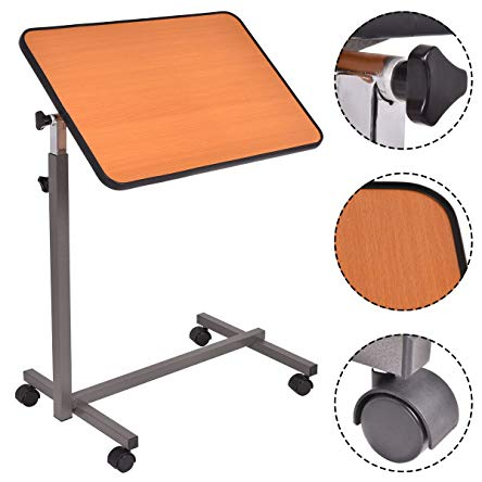 Officejoy End Table Overbed Hospital Food Tray Adjustable Laptop Holder End Stand Desk Coffee Tray Side Table with Tilting Top (yellow)