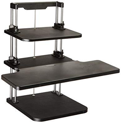 Pyle Sit Stand Desk, Height Adjustable Stand Up Desk, Computer/ Laptop Stand Up Computer Workstation W/2 Adjustable Shelf Trays, Free Standing Desk - Black Finish (PSTNDDSK36)
