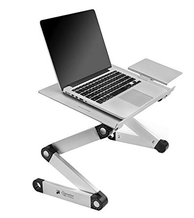 Portable Adjustable Aluminum Laptop Desk/Stand/Table Vented w/CPU Fans Mouse Pad Side Mount-Notebook-Macbook-Light Weight Ergonomic TV Bed Lap Tray Stand Up/Sitting-Silver
