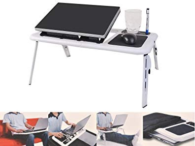 Foldable Laptop Table Tray Desk W/Cooling Fan Tablet Desk Stand Bed Sofa Couch by SNC