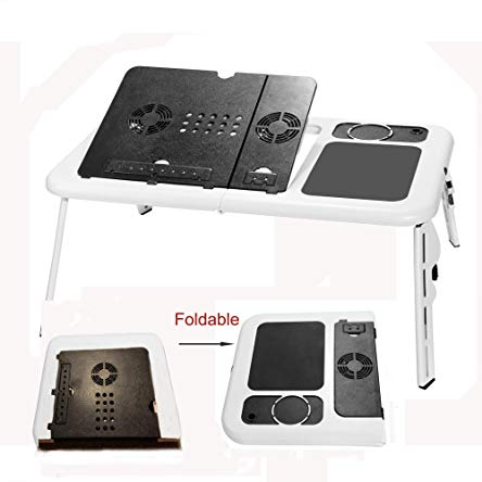 (US Stock) Pesters Portable Laptop Table,Folding Laptop Desk Adjustable Flexible Laptop Stand Laptop Holder for Bed with Cooling Fan and Mouse Pad