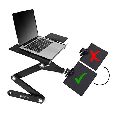 Portable Adjustable Aluminum Laptop Desk/Stand/Table Vented w/CPU Fans & Extra Large Mouse Pad Side Mount-Notebook-MacBook-Light Weight Ergonomic TV Bed Lap Tray Stand up/Sitting-Black